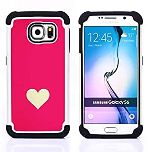 Samsung Galaxy S6 / SM-G920 - 3 en 1 impreso colorido de Altas Prestaciones PC Funda chaqueta Negro cubierta gel silicona suave (Minimaliste Rose Blanc Valentines)