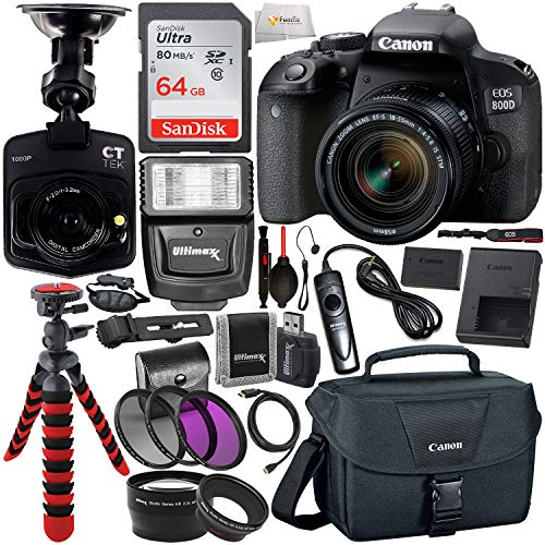 Canon EOS Rebel 800D (T7i) DSLR Camera w/ 18-55mm Lens, Free Promotional Dash Cam & Essential Accessory Bundle – Includes: SanDisk Ultra 64GB SDXC Memory Card, Slave Flash, Canon Carrying Case & More