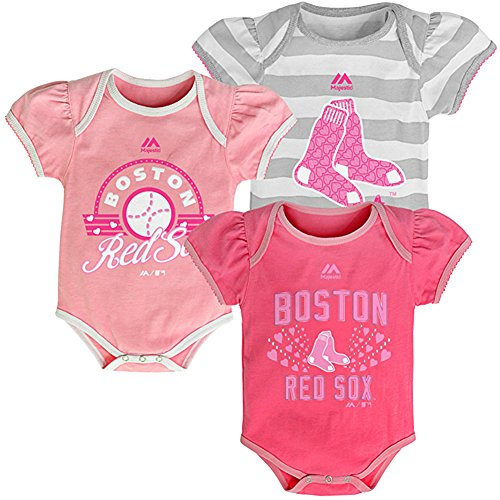 Boston Red Sox Baby / Infant Girls 3 Piece Creeper Set Pink 6-9 Months