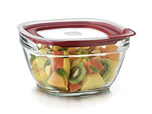 Rubbermaid - 1.5C Glass Food Storage, Clear With Red Lid, (Pack of 4)