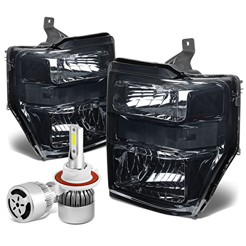 For Ford Super Duty 2nd Gen OE Style Smoked Lens Clear Corner Headlight + H13 LED Conversion Kit W/Fan