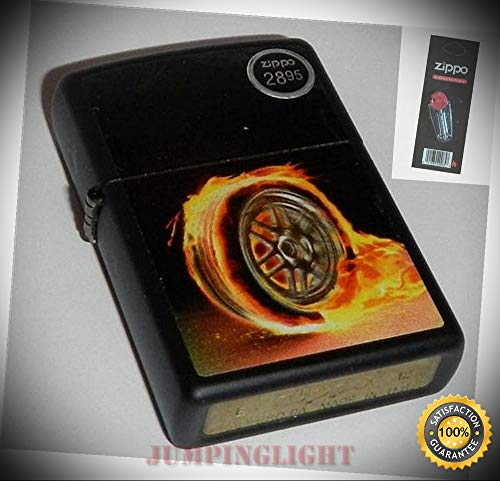 - 0220 Flaming Wheel Rare & Discontinued Lighter with Flint Pack - Premium Lighter Fluid (Comes Unfilled) - Made in USA!