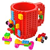 BOMENNE Build-on Brick Mug,Novelty Creative Compatible with LEGO DIY building Blocks Coffee Cup with bricks,is unique Christmas gift Idea (Red)