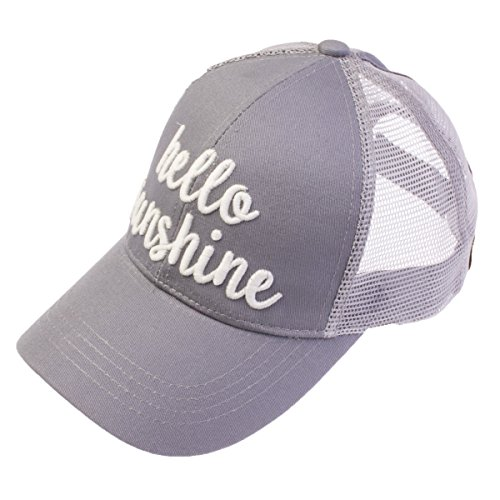 C.C Exclusives Pony Cap with 3D Embroidered Color Changing Trucker Cap (BT-10) (Grey, Hello Sunshine) - Embroidered Pony