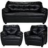 FabHomeDecor Rosabelle Five Seater Sofa Set 3+1+1 (Black)
