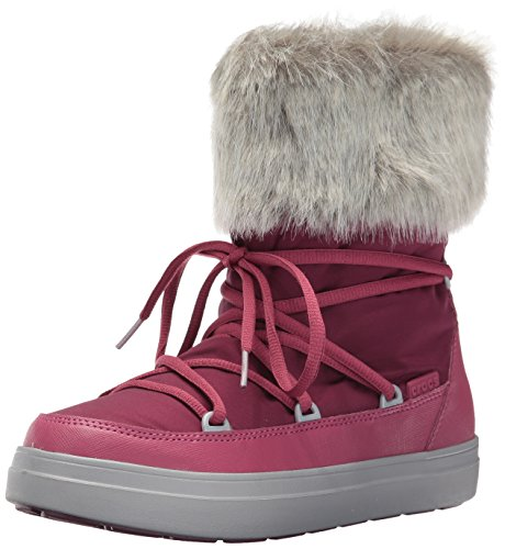 Crocs Women's Lodge Point Lace Snow Boot, Pomegranate, 6 M US