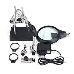 ZevenMart Soldering Tools Iron Stand Clamp Holder Magnifying Lens Magnifier with 5 LED Light Black