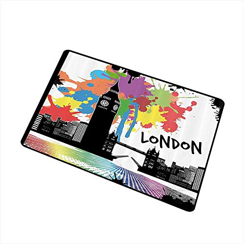 (Mdxizc Stylish Commercial Grade Entry pad Retro Vintage London City View with Color Splashes Poster Style Grunge Urban Artwork Image W35 xL47 Non-Slip Backing Multicolor)