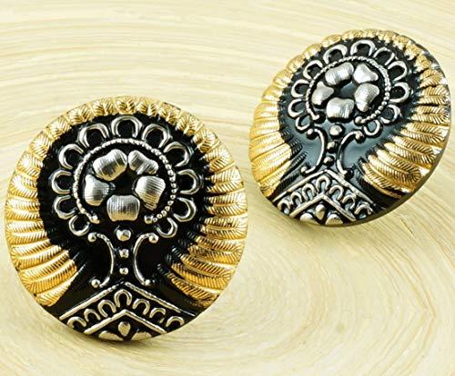 (1pc Gold Silver Black Tree of Life Flower Handmade Czech Glass Button Size 12 27mm)