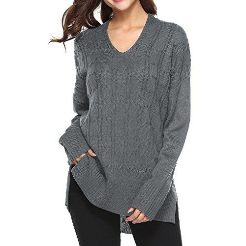 Longues Pull irrgulire Texture Manches en gris Manteau Casual Masterein Fille Femmes Maille Lache aPpxA0