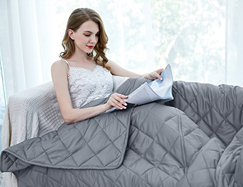 ZZZhen Weighted Premium Cotton Gravity Blanket-Multiple Sizes Adlut Kids. Great Sleeping, Insomnia, Anixiety, Calm, Stres Stress, Add, ADHD, 60''80'' -20LB, Grey by ZZZhen