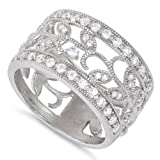 (US) Sterling Silver Filigree Vine Cz Ring - 16mm - Size 10
