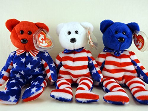 - Ty Beanie Babies Liberty Bear Set of 3 Red White and Blue face