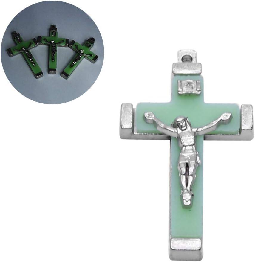 qiuxiaoaa 5x Metal Christ Jesus Cross Luminous Glow In The Dark Pendant Crucifix Ornaments Luminous Cross