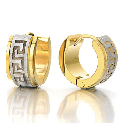 Pair Steel Gold Color Huggie Hinged Hoop Earrings for Men Boys, Satin Finishing Greek Key Pattern ()