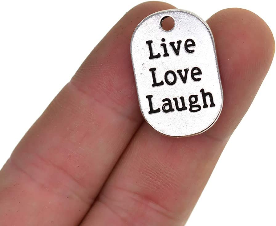 20 Piece Silver Alloy Engraving Live Love Laugh Tags Charms Necklace Pendants Jewelry Making Accessories for DIY Jewelry Making Crafting