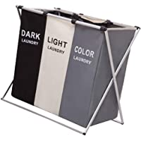 BESTONZON 3 Section Laundry Basket Printed Dark Light Color Foldable Hamper Sorter Washing Clothes Storage Divided…