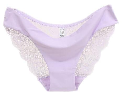 f97fce49fa6b AOYOMO Women Low Waist Ice Silk Lace Seamless Underwear Briefs Panty Violet  S