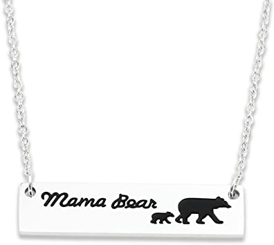 Dainty Silver Necklace Solid Sterling Silver Bear Pendant Engravable Silver Mother Bear /& Cub Necklace Special Gift Hand Forged Silver