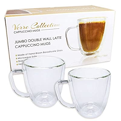 Double Wall Glass Espresso Latte Cappuccino Mug, Coffee Cup | Set of 2