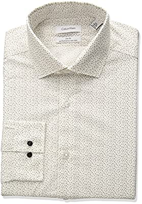 Calvin Klein Men's Non Iron Slim Fit Stretch Print Spread Collar Dress Shirt
