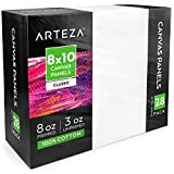 Arteza 8x10 White Blank Canvas Panels Boards, Bulk Pack of 28, Primed, 100%