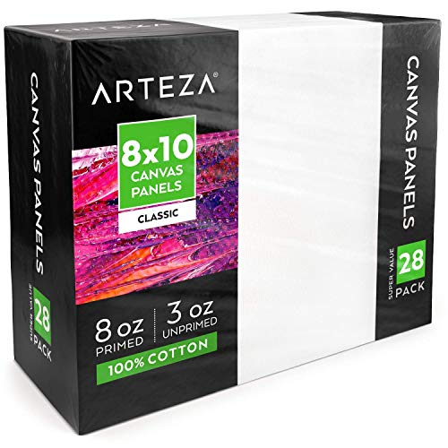 "Arteza 8x10"" White Blank Canvas Panels Boards, Bulk Pack of 28, Primed, 100% Cotton for Acrylic Painting, Oil Paint & Wet Art Media, Canvases for Professional Artist, Hobby Painters & Beginners"