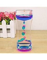 Liquid Motion Bubbler Timer Double Colors Oil Hourglass Liquid Floating Motion Bubbles Timer Desk Decors