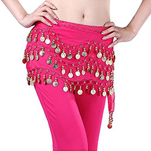 ng 3 Rows Gold Coins Hip Scarf Wrap Belt for Belly Dancing (Hot Pink) (Row Belly Chain)