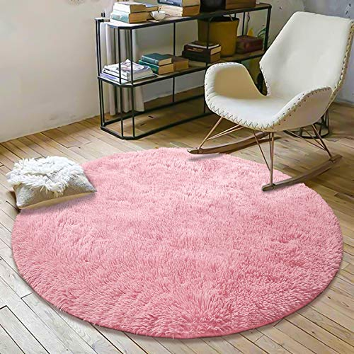 YOH Super Soft Round 4x4 Feet Area Rugs for Bedroom Kids Rooms Living Room Playroom Fluffy Boys Girls Baby Kids Children Rugs for Bedroom Home Nursery Décor Yoga Mats for Women Popular Colors,Pink from YOH