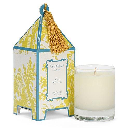 Seda France Classic Toile Mini Pagoda Box Candle, White Narcissus, 2 Ounce