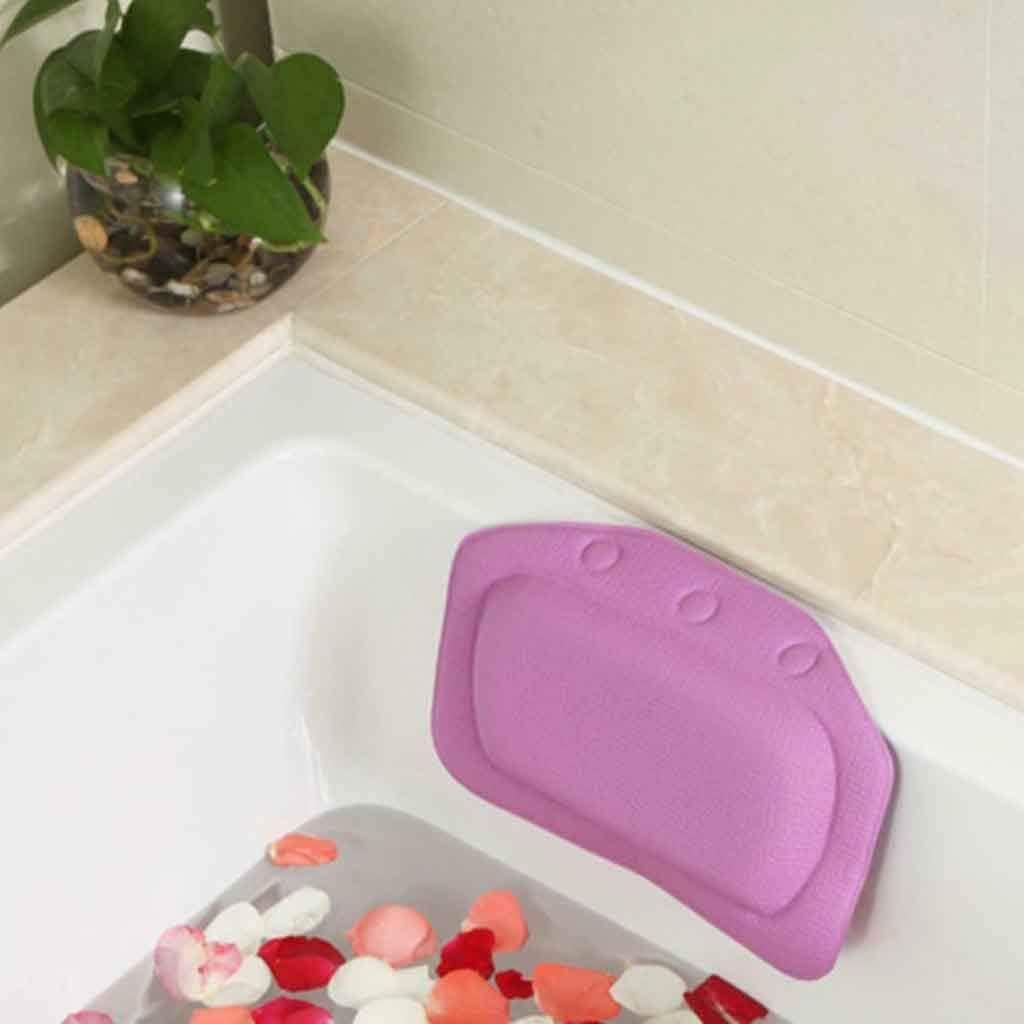 Dergo ?Comfortable SPA Bath Pillow Bathtub Bathroom Neck Headrest Soft Pad Suction (B)