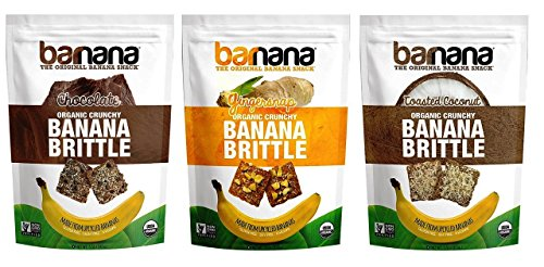 Barnana Organic Crunchy Banana Brittle 3 Flavor Variety Bundle, (1) each: Chocolate, Coconut, and Gingersnap (3.5 Ounces)