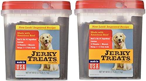 Jerky Treats Tender Beef Strips Dog Snacks, 60 oz, Large 2 Pack