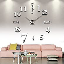 Chinatera Modern Mute DIY Large Wall Clock 3D Sticker Home Office Decor Gift (silver)