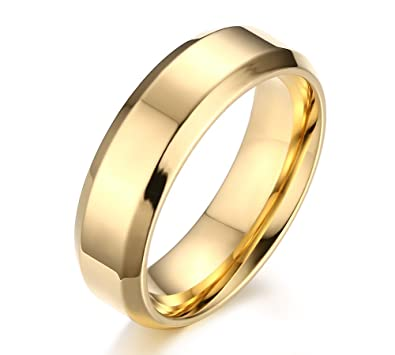 9b52816925 FANSING Mens Wedding Bands Womens, Gold Ring, Stainless Steel Rings, 6mm,  Size