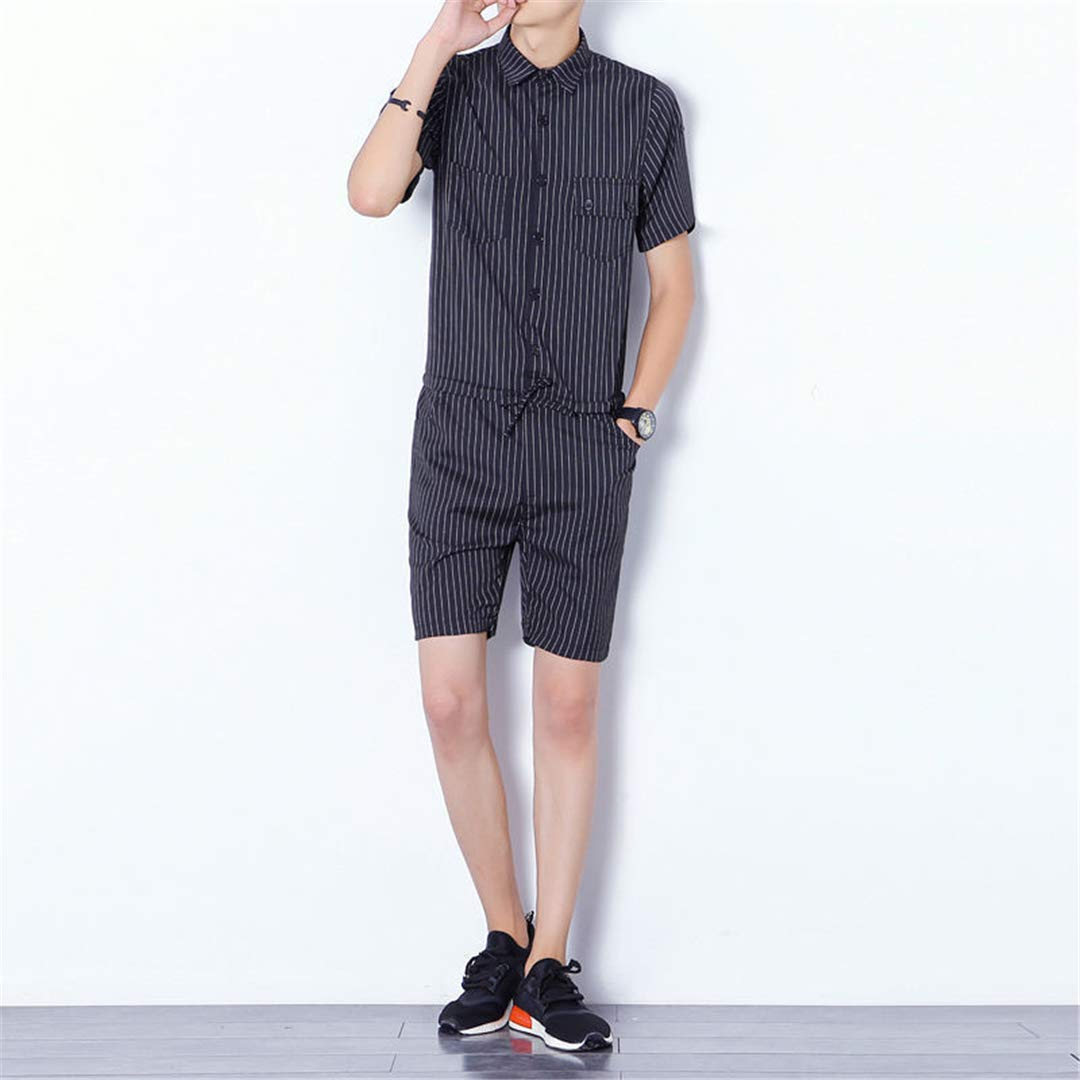 fa1d1df7d9b Amazon.com  Mens Romper Set Cotton Jumpsuits Leisure Suspender Trousers  Overalls  Clothing