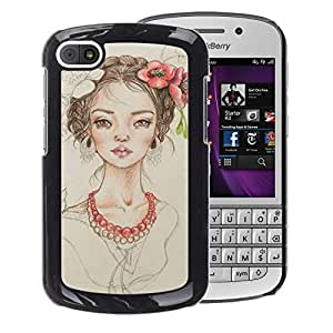 A-type Arte & diseño plástico duro Fundas Cover Cubre Hard Case Cover para BlackBerry Q10 (Floral Girl Pearl Fashion Portrait Beige)