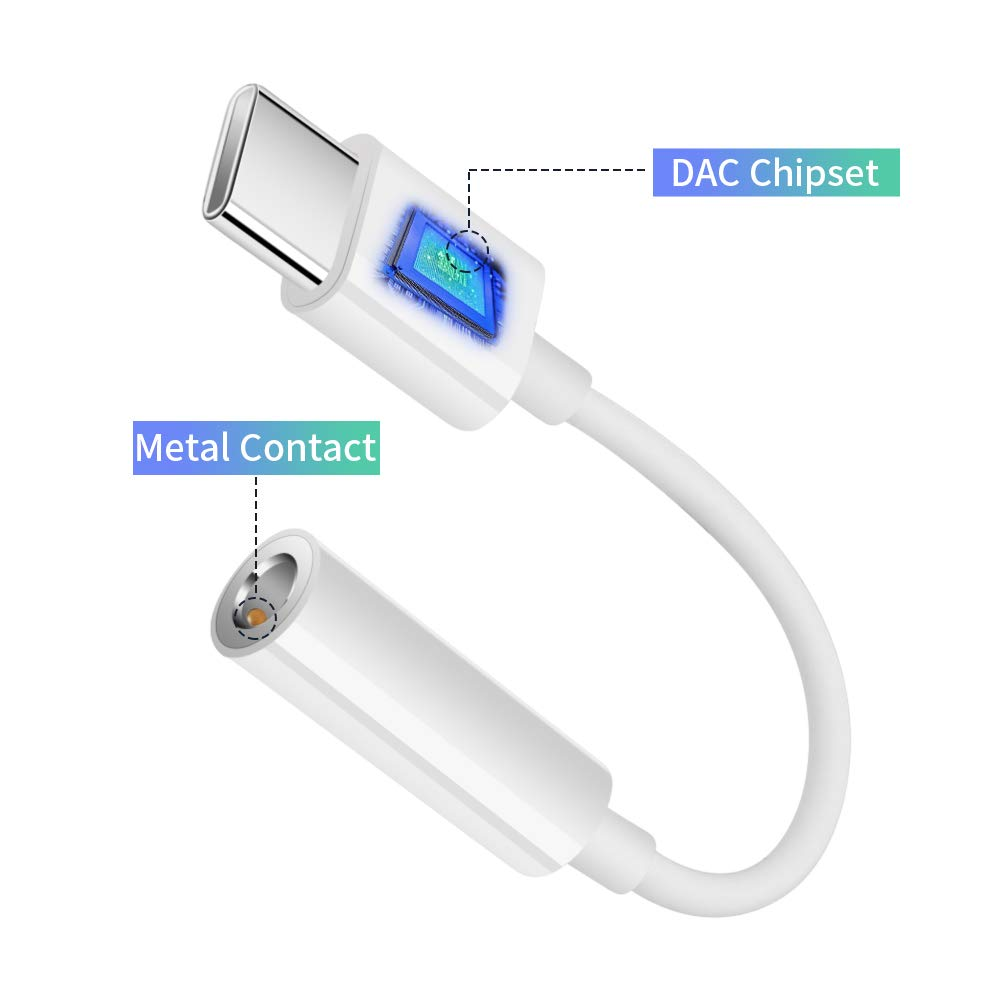 Adaptador de USB C a Jack de 3,5 mm para Auriculares con reducci/ón de Ruido Compatible con Huawei Mate 20 Pro P30 Pro P20 Pro Mate 20 RS TITACUTE Honor Note 10