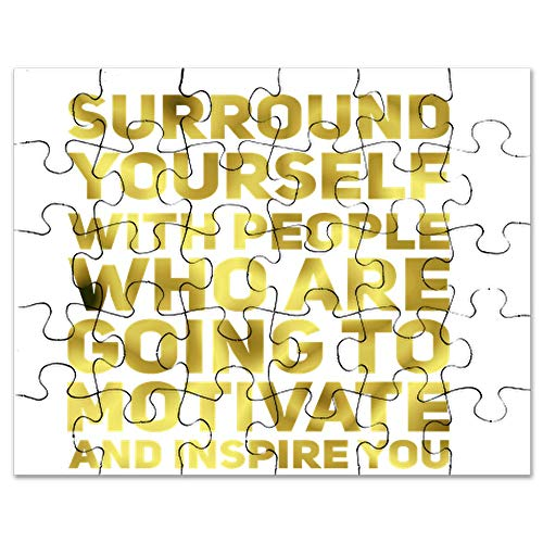 CafePress Surround Yourself Inspirational Quote Dark Gold Pu Jigsaw Puzzle, 30 pcs.