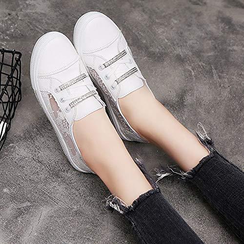 ZHZNVX Heel Negro Fall Zapatos de Comfort White PU Blanco Flat Sneakers Poliuretano Mujer ggHwrq