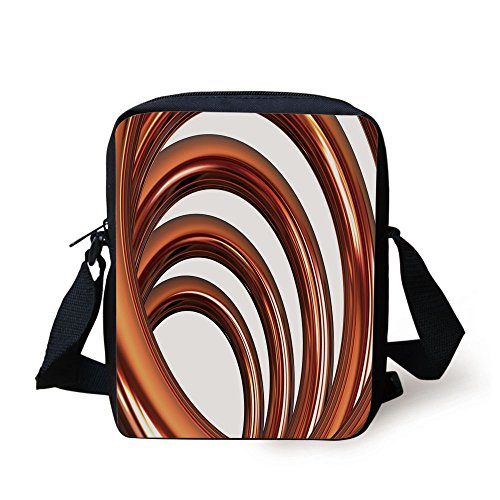 IPrint Copper Decor,Copper Helix Coil Curved Spiral Pipe Swirled Shape on White Backdrop Decorative,Orange and White Print Kids Crossbody Messenger Bag Purse