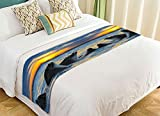 Custom Marine Animal Bed Runner, Dolphins in the Ocean at Sunset Time Bed Runners And Scarves Bed Decoration 20x95 inch