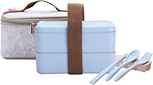 YBOBK HOME Japanese Bento Box Microwave Safe Lunch Box with Bag and Reusable Flatware Utensils Set Stackable Bento Lunch Box Plastic Wheat Straw Bento Box Dishwasher Safe for Adult Kid (2-Tier, Blue)