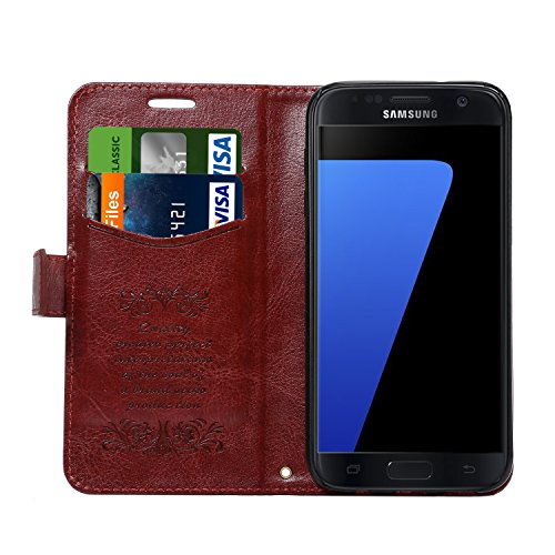 S7 Casec Galaxy S7 Wallet Casec Pasonomi Card Slot Premium PU Leather Flip Cover Folio with Stand Case Cover for Samsung Galaxy S7 2016 (Brown)