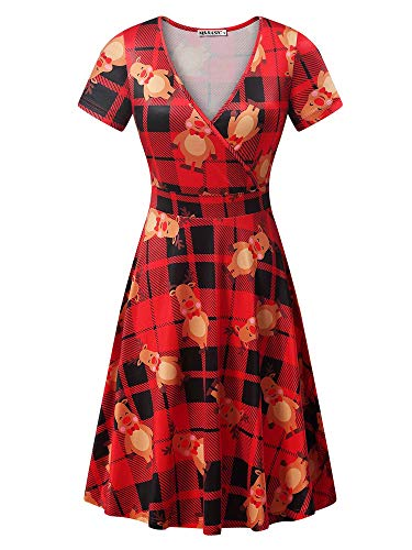 MSBASIC Elk Dress, Ladies Xmas Dress Christmas Themed Dresses for Women Plaid&Deer XXL]()