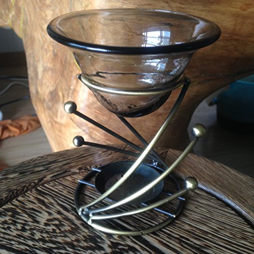 Metal Spiral Candlestick (Modern Art Spiral Metal and Glass Fragrant Oil Warmer Tealight Candle Holder Scented with Oil Burner JunMing INC (Design)