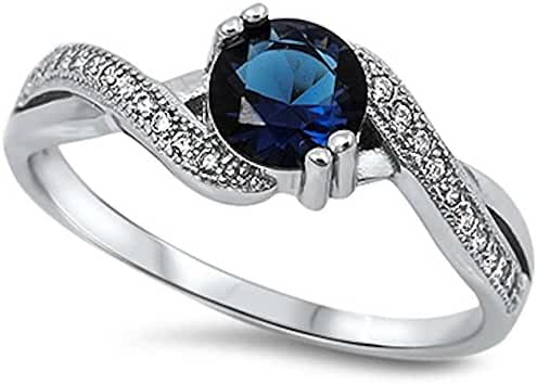 Round Simulated Blue Sapphire & White Cubic Zirconia .925 Sterling Silver Ring Sizes 3-12