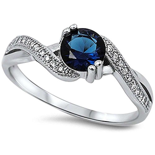 Round Simulated Blue Sapphire & White Cubic Zirconia .925 Sterling Silver Ring Size ()