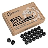 "20pc Black Open End Lug Nuts - Metric 12x1.5 Thread Size - 0.85"" Length - Cone Conical Taper Acorn Seat - Installs with 19mm or 3/4"" Hex Socket"
